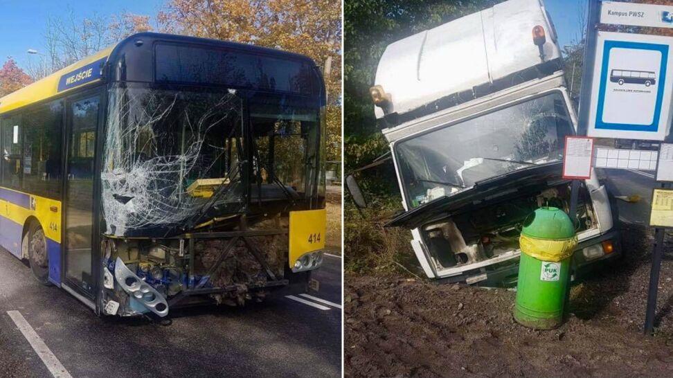 Zderzenie autobusu i lawety. Ciężarówka wjechała do rowu