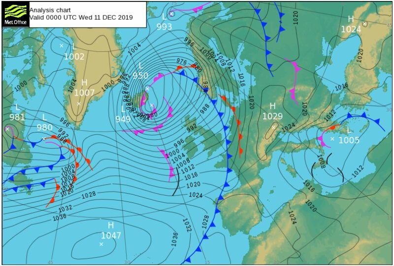 Sytuacja baryczna nad północno-wschodnim Atlantykiem (MetOffice)