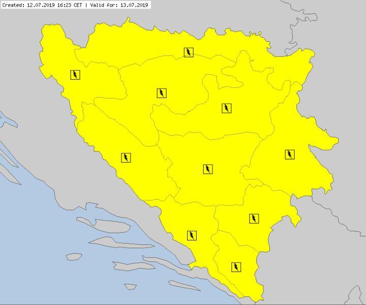 Ostrzeżenia meteorologiczne dla Bośni i Hercegowiny (meteoalarm.eu)