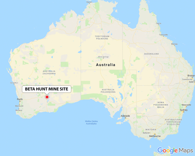 Lokalizacja kopalni złota (Google Maps)