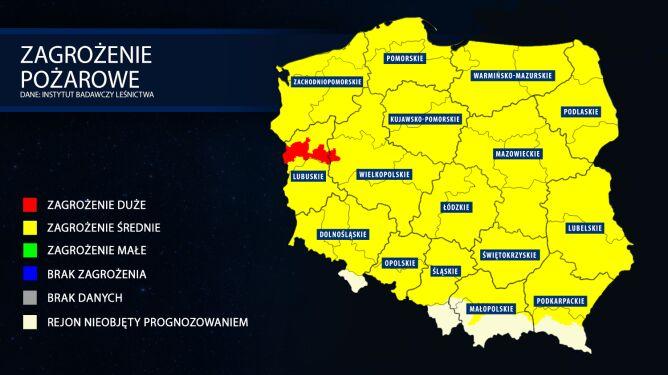 Zagrożenie pożarowe lasów. Prognoza z dnia 9 kwietnia (tvnmeteo.pl za IBL)